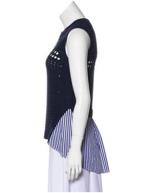 87747dd231fcb ... Veronica Beard - Blue Sheer Sleeveless Sweater Navy - Lyst ...