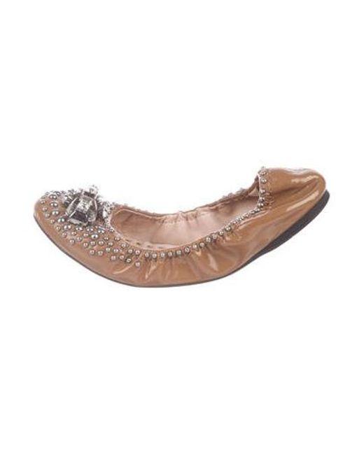 Miu Miu - Metallic Miu Patent Leather Embellished Flats Brown - Lyst