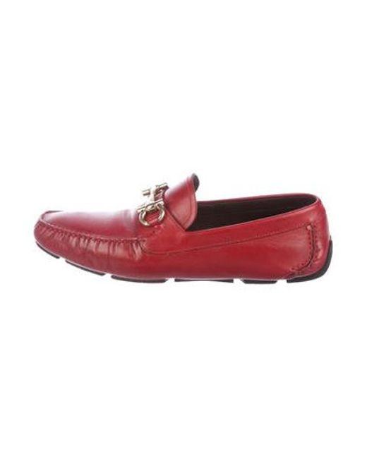 09e043ee52e Ferragamo - Metallic Parigi Leather Driving Loafers Red for Men - Lyst ...