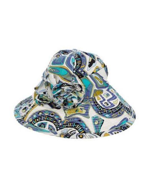 ... Emilio Pucci - Blue Floral Sun Hat - Lyst ... e2e98f0fca47