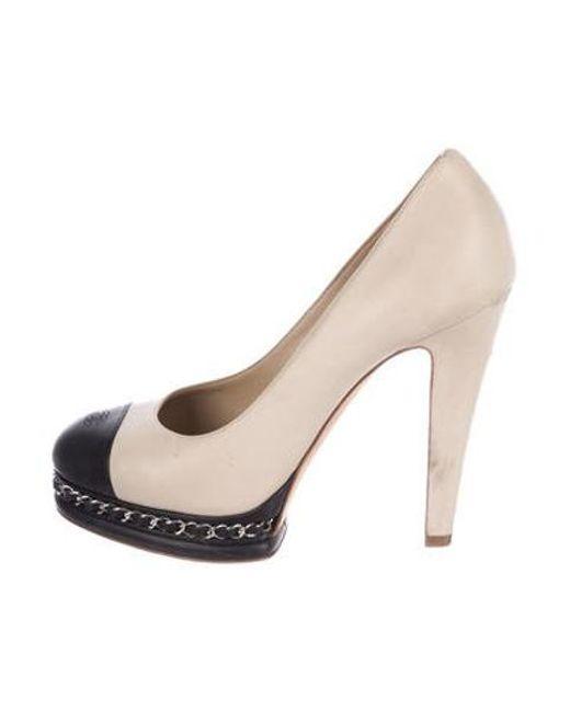 686d831f924 Chanel - Black Cc Leather Pumps - Lyst ...