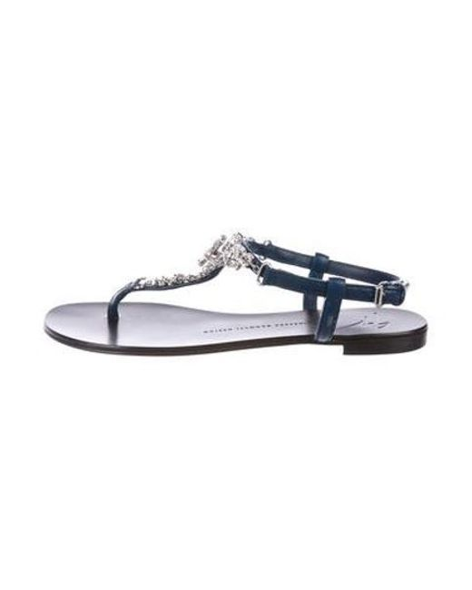f6edd4412 Giuseppe Zanotti - Blue Crystal Embellished Thong Sandals Navy - Lyst ...