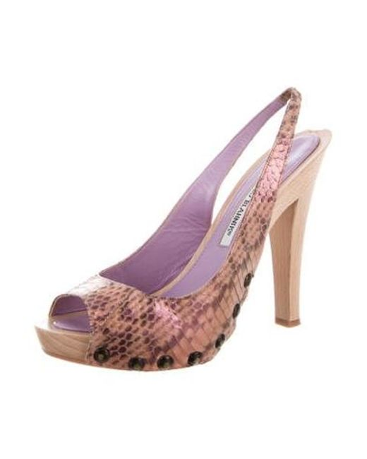 46c3c0a835 ... Manolo Blahnik - Pink Matte Python Pumps - Lyst ...