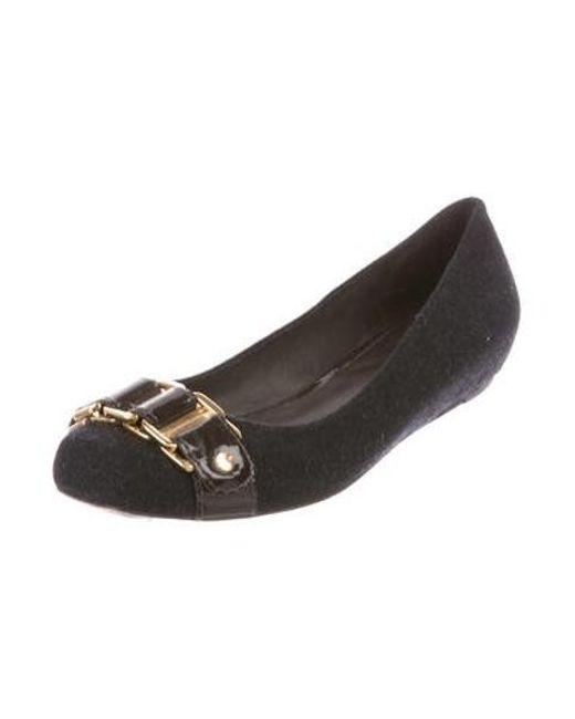 45bfad82437f Lyst - Tory Burch Felt Square-toe Flats in Black - Save ...