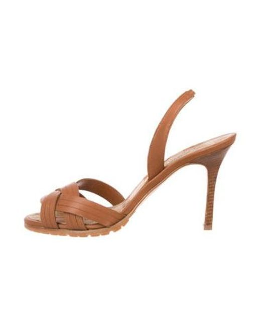 9cd419973674 Manolo Blahnik - Brown Leather Slingback Sandals - Lyst ...