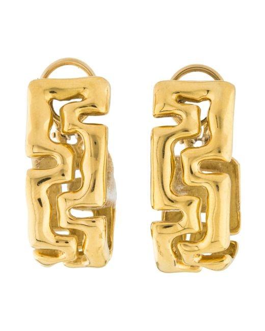Tiffany Co Metallic 18k Greek Key Earrings Yellow
