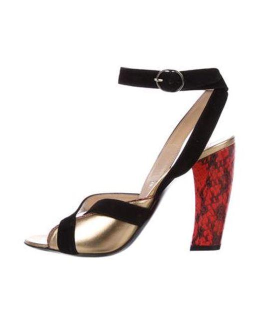 fbdd61fc3de Dries Van Noten - Metallic Snakeskin-trimmed Crossover Sandals Black - Lyst  ...