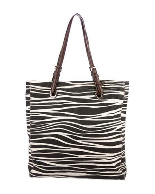 4fb79be0966f MICHAEL Michael Kors - Metallic Michael Kors Leather-trimmed Zebra Tote  Brown - Lyst ...