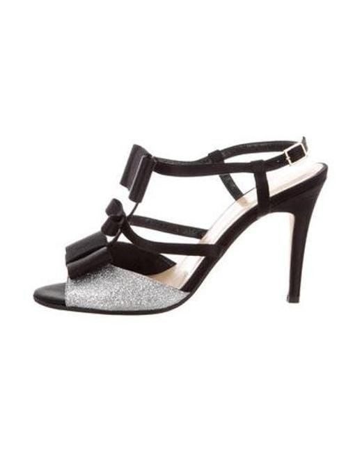 ecae0dcf911a Kate Spade - Metallic Satin Bowtie Sandals Black - Lyst ...