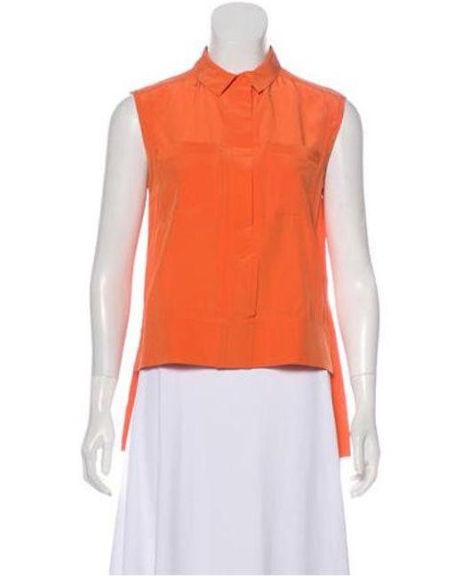 3bda92e79ed05 Lyst - Diane Von Furstenberg Lensley Silk High-low Top Orange in Orange