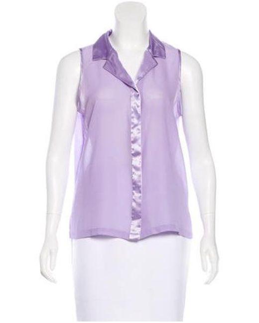 Halston Heritage - Purple Sleeveless Collared Top - Lyst
