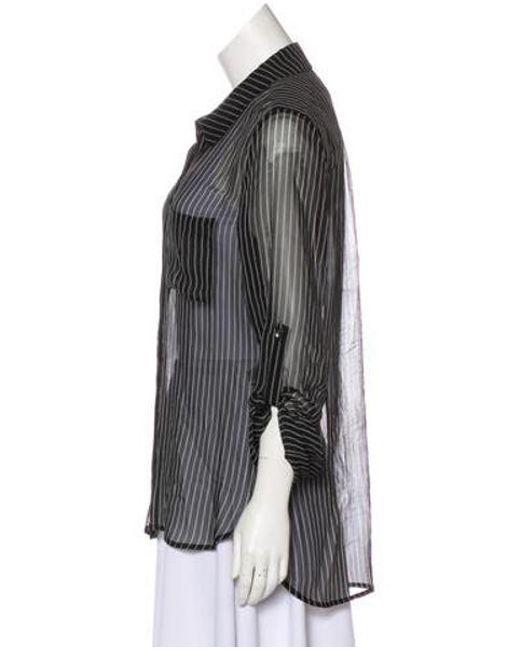 ac4255a475366 ... Diane von Furstenberg - Black Striped Silk Button-up Top - Lyst ...