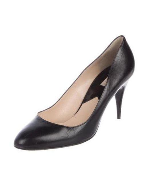 e555c7101efb ... Michael Kors - Black Leather Mid-heel Pumps - Lyst ...