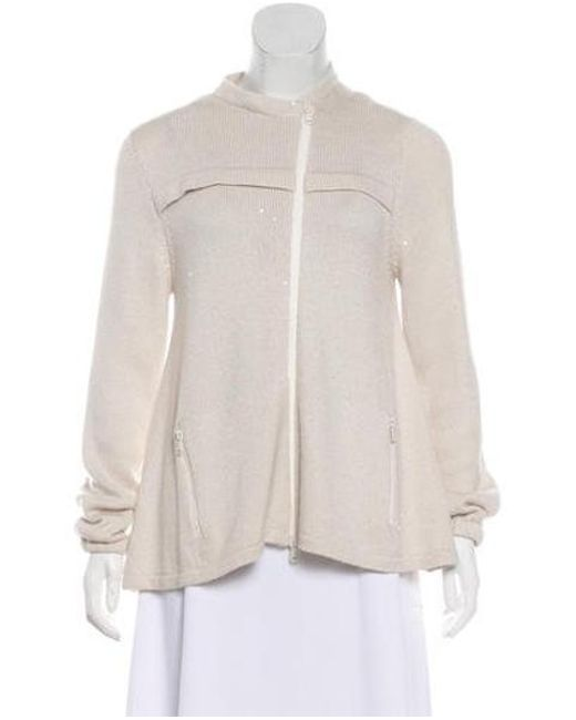 c276be79af Brunello Cucinelli - White Sequin Knit Sweater - Lyst ...