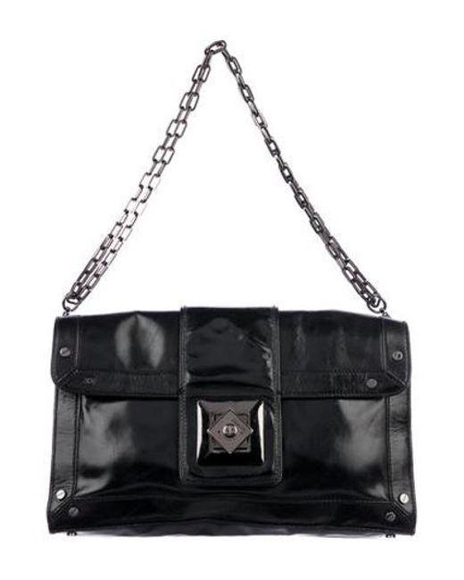 15430dfdd42b Tory Burch - Metallic Silk-blend Chain-link Shoulder Bag Black - Lyst ...