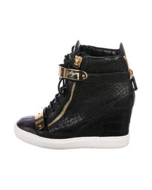 77f915a3ed67 Giuseppe Zanotti - Metallic Embossed Leather Wedge Sneakers Black - Lyst ...
