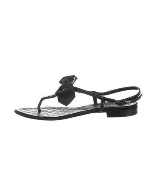 81b56bfb1c6ed Chanel - Black Leather Thong Sandals - Lyst ...
