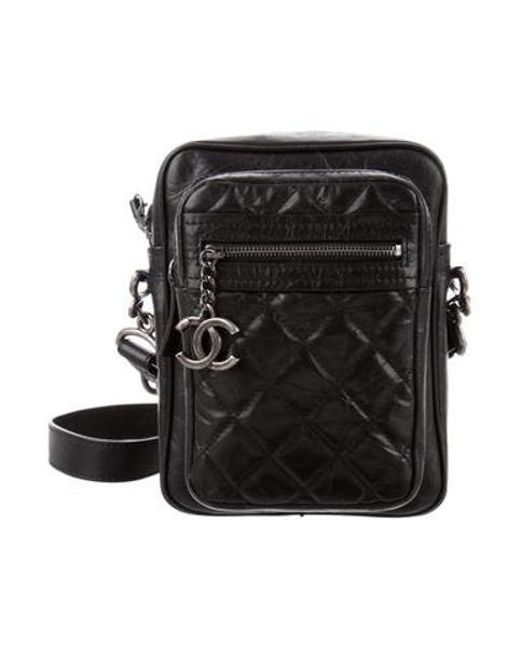 ef96be3664e038 Chanel - Metallic 2016 Quilted Camera Bag Black - Lyst ...