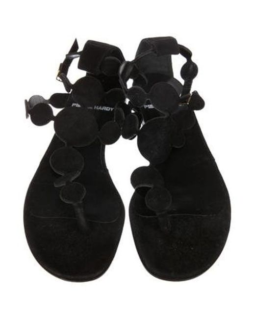 152a21934d6d1f ... Pierre Hardy - Black Suede Thong Sandals - Lyst ...