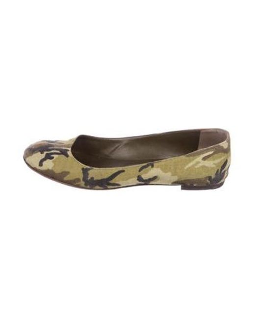 634179d08 Manolo Blahnik - Green Round-toe Camouflage Flats - Lyst ...