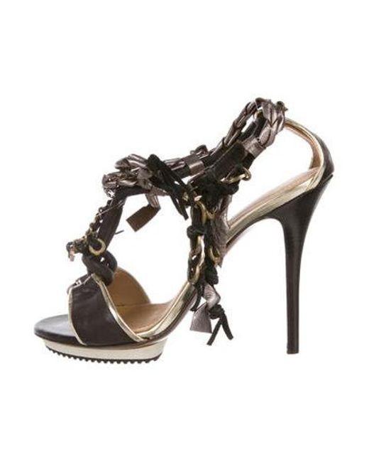 18ae623d77b Lanvin - Metallic Embellished T-strap Sandals Black - Lyst ...