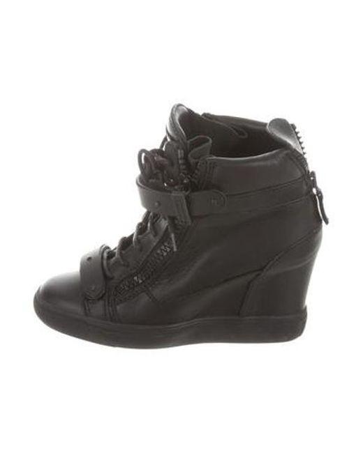 e554163c0a73 Giuseppe Zanotti - Black Leather Sneaker Wedges W  Studs - Lyst ...