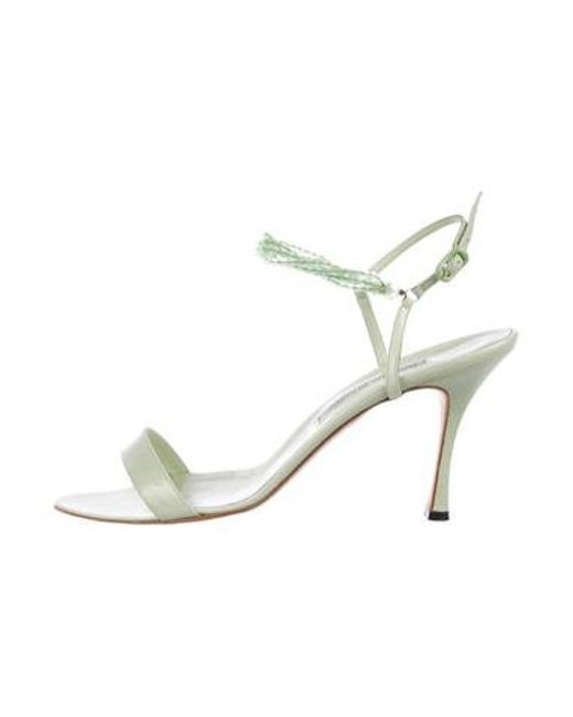 Manolo Blahnik - Green Leather Ankle-strap Sandals Mint - Lyst