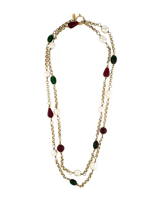 Chanel - Metallic Crystal & Pearl Station Necklace Gold - Lyst