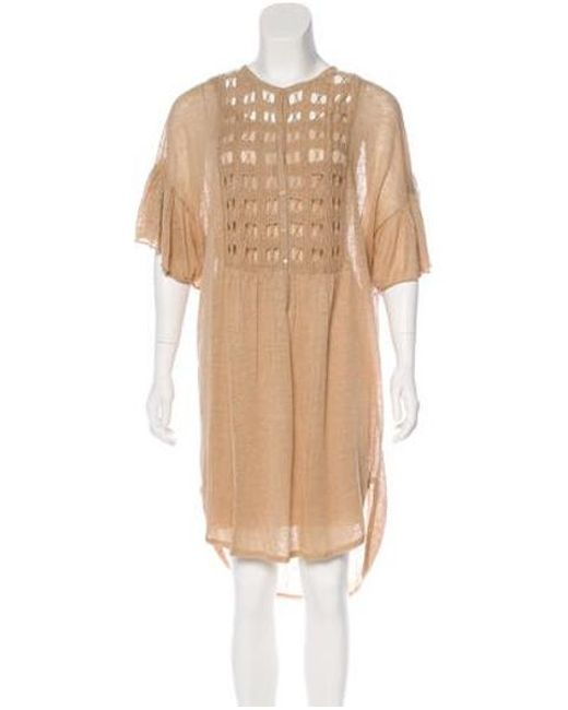 5caab8ed1716 By Malene Birger - Brown Short Sleeve Midi Dress - Lyst ...