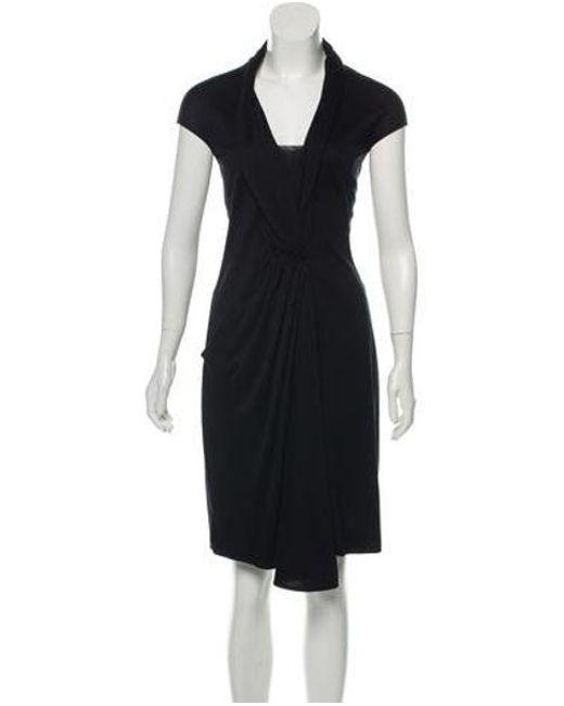 d31523cea8 Akris - Black Draped Silk Dress - Lyst ...