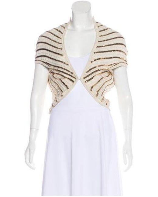Alice + Olivia - Metallic Embellished Short Sleeve Cardigan Gold - Lyst ... 8b22ef9ee