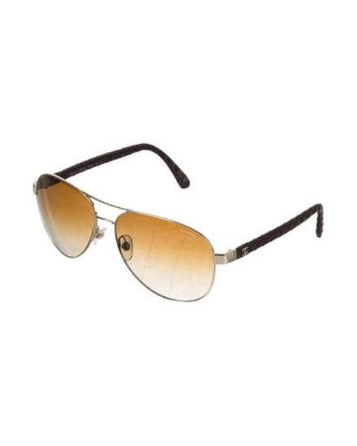 2d0263dbe1 ... Chanel - Metallic Pilot Quilting Sunglasses Brown - Lyst ...