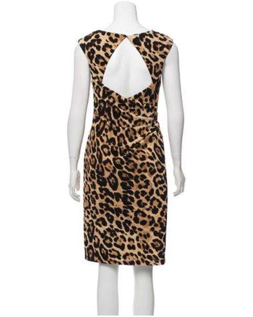 9664b8a65b ... David Meister - Natural Animal Print Midi Dress Black - Lyst