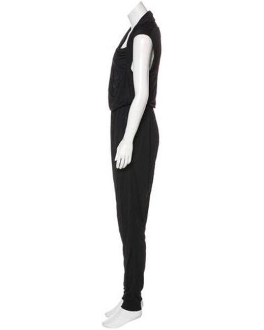 03e02dbec8ad ... Lanvin - Black Draped Sleeveless Jumpsuit - Lyst ...