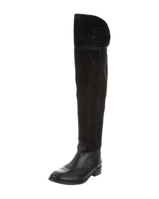 15a2554d7dc ... Tory Burch - Black Over-the-knee Round-toe Boots - Lyst ...