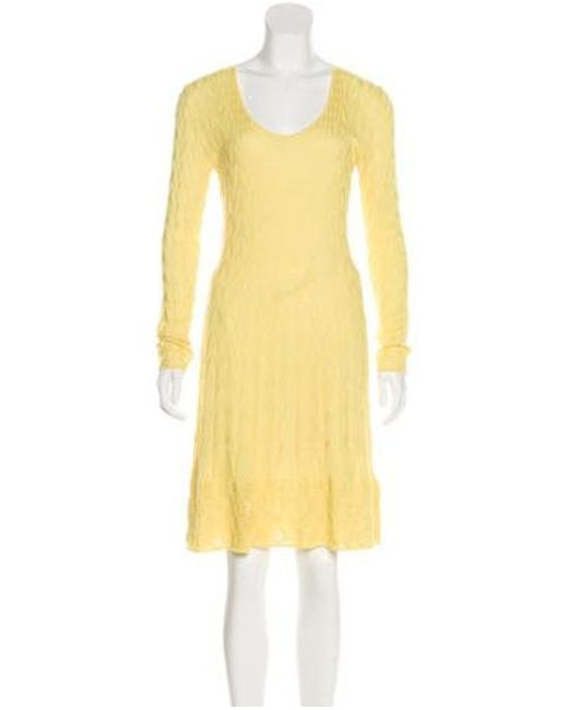 0e747abd166f M Missoni - Yellow Knit Midi Dress - Lyst ...