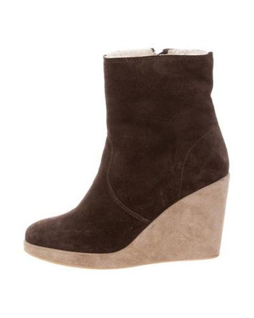 a198587bee5 A.P.C. - Brown Shearling Wedge Booties - Lyst ...