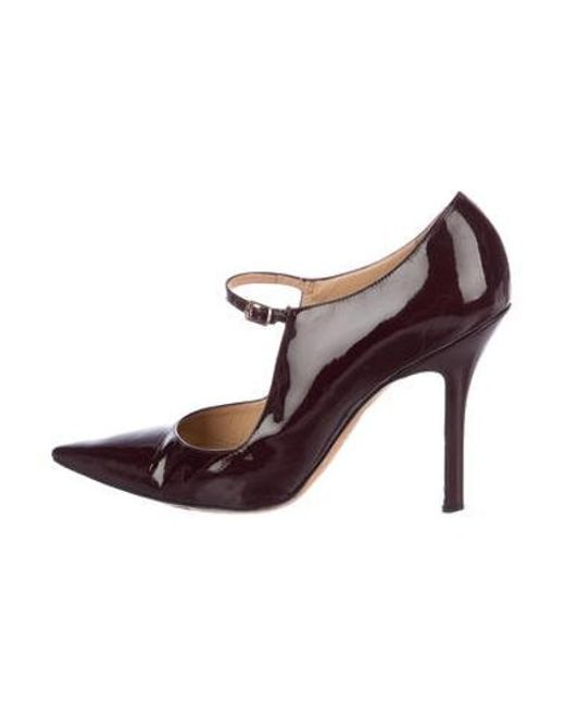 7abf0d1fb3f43 Manolo Blahnik - Red Patent Leather Mary Jane Pumps Burgundy - Lyst ...