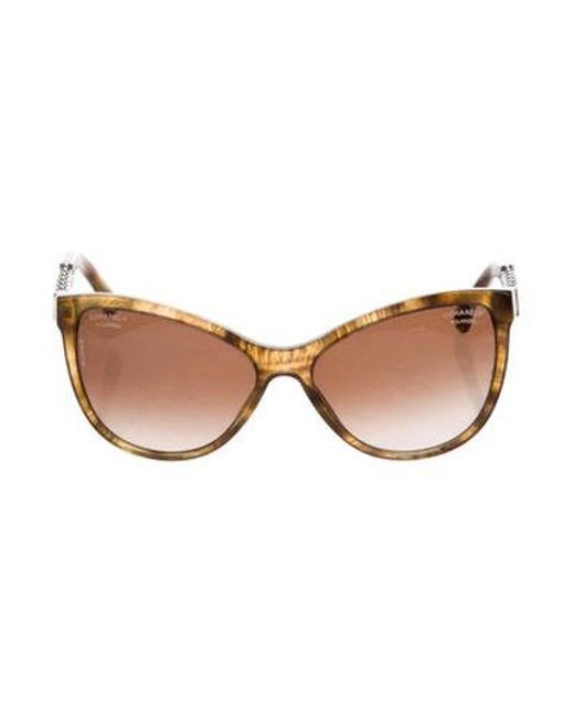1d65e934ea6ec Chanel - Yellow Butterfly Chain-link Sunglasses - Lyst ...