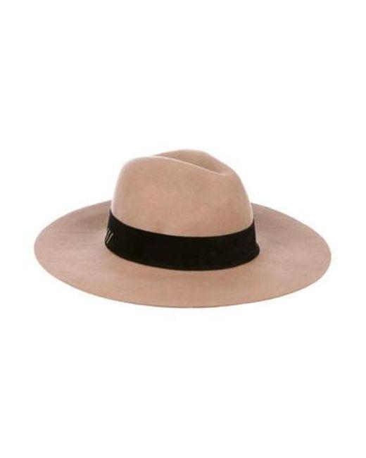 5d1e709f997 Lyst Anine Bing Wool Wide Brim Hat Tan In Natural