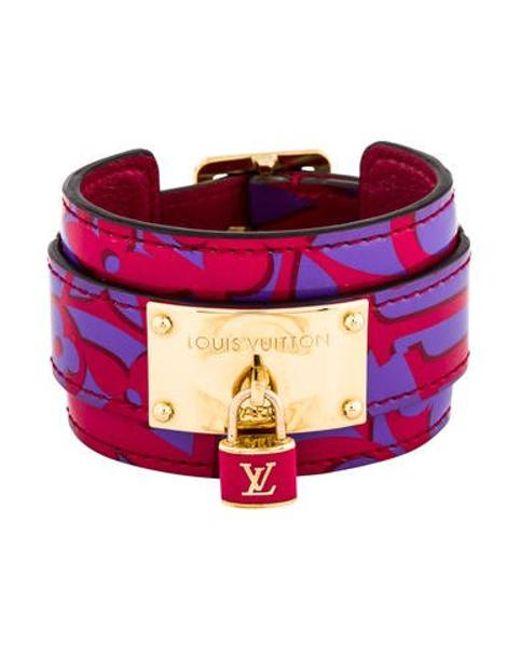 Lyst Louis Vuitton Patent Leather Wrap Bracelet Gold In Metallic