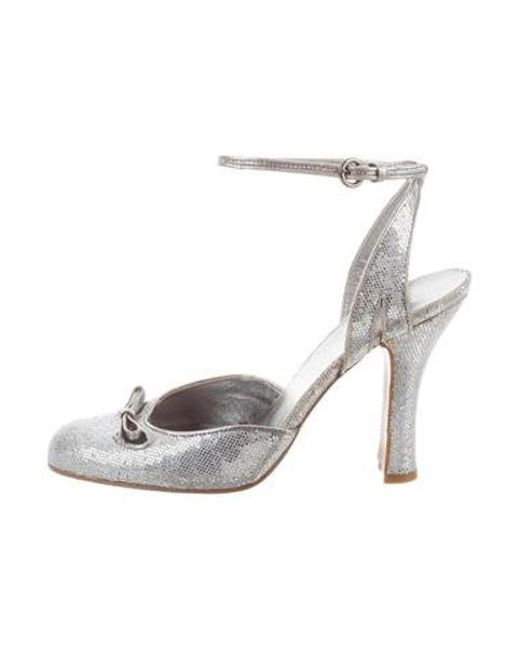 432cd589c4 Miu Miu - Metallic Miu Glitter Ankle-strap Sandals Silver - Lyst ...