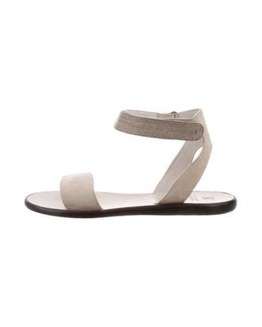 fc776240fb2 Brunello Cucinelli - Natural Monili Suede Sandals Beige - Lyst ...