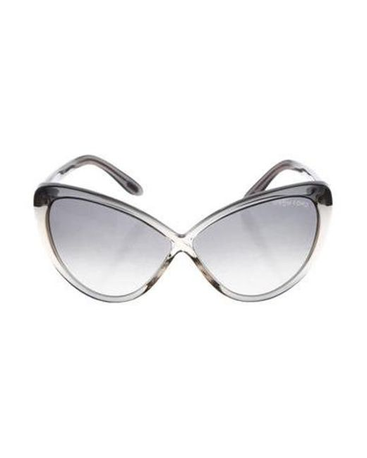 c79518b076ff Tom Ford - Metallic Madison Cat-eye Sunglasses Grey - Lyst ...