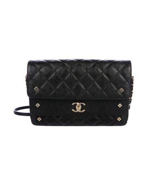 21cbe87565e4 Chanel - Metallic 2017 Calfskin Three Flap Bag Black - Lyst ...