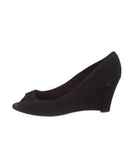 0ebda40fa575 Ferragamo - Black Peep-toe Wedge Pumps - Lyst ...