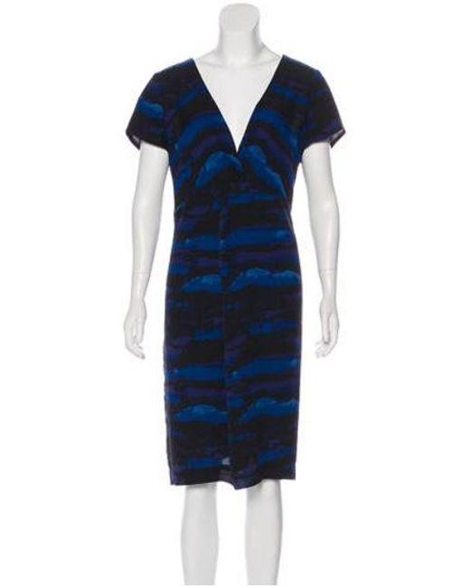 Tory Burch - Blue Silk Printed Dress - Lyst