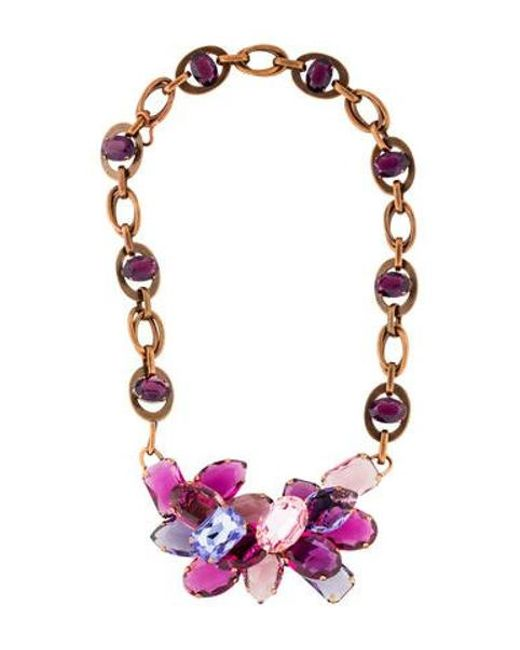 Lanvin - Metallic Pink & Purple Crystal Collar Necklace Copper - Lyst