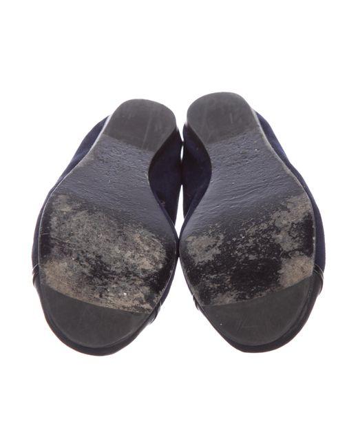 ef42c8d7f84 ... Lanvin - Black Suede Cap-toe Flats - Lyst