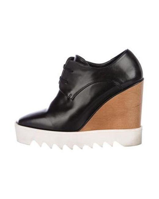 dc71bc2d588 Stella McCartney - Black Vegan Leather Platform Wedges - Lyst ...